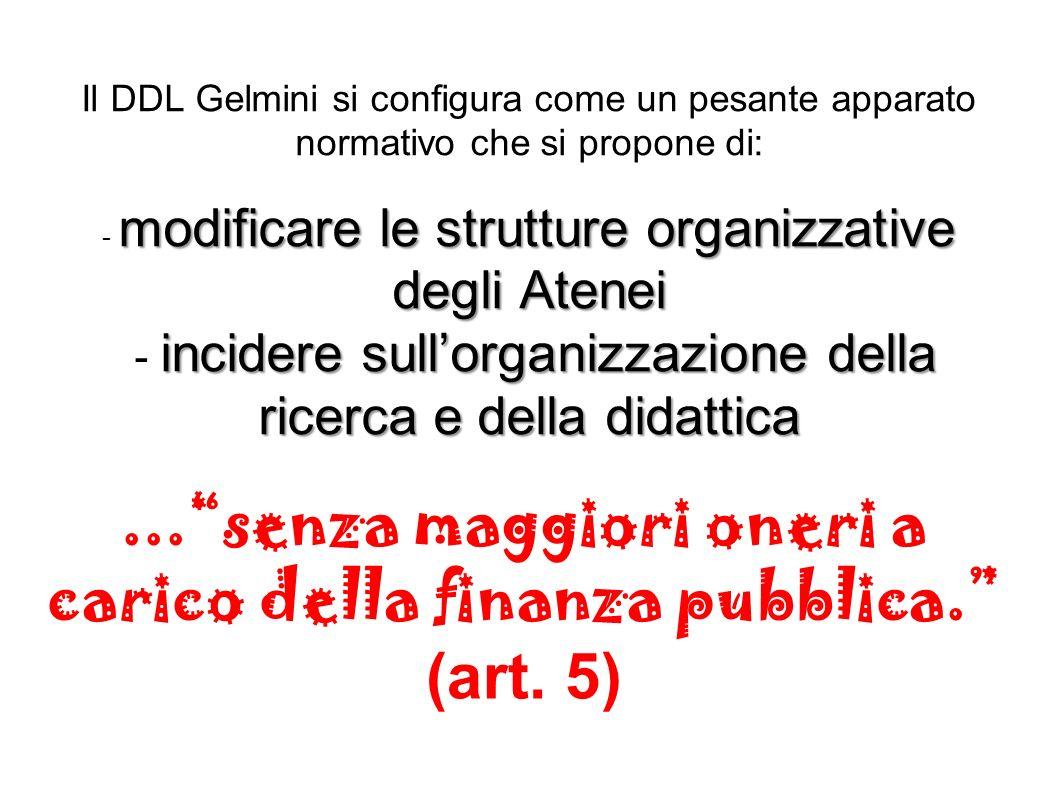 ... senza maggiori oneri a carico della finanza pubblica. (art. 5)