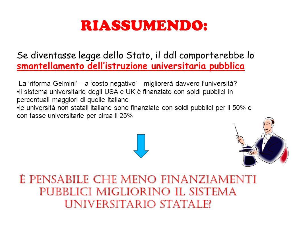 RIASSUMENDO: Se diventasse legge dello Stato, il ddl comporterebbe lo smantellamento dell'istruzione universitaria pubblica.