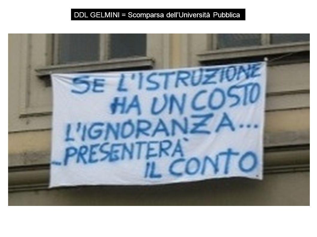 DDL GELMINI = Scomparsa dell'Università Pubblica