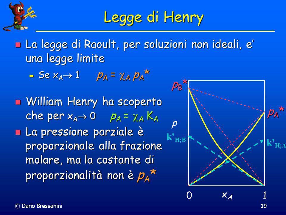 Legge di Henry La legge di Raoult, per soluzioni non ideali, e' una legge limite. Se xA 1 pA = A pA*