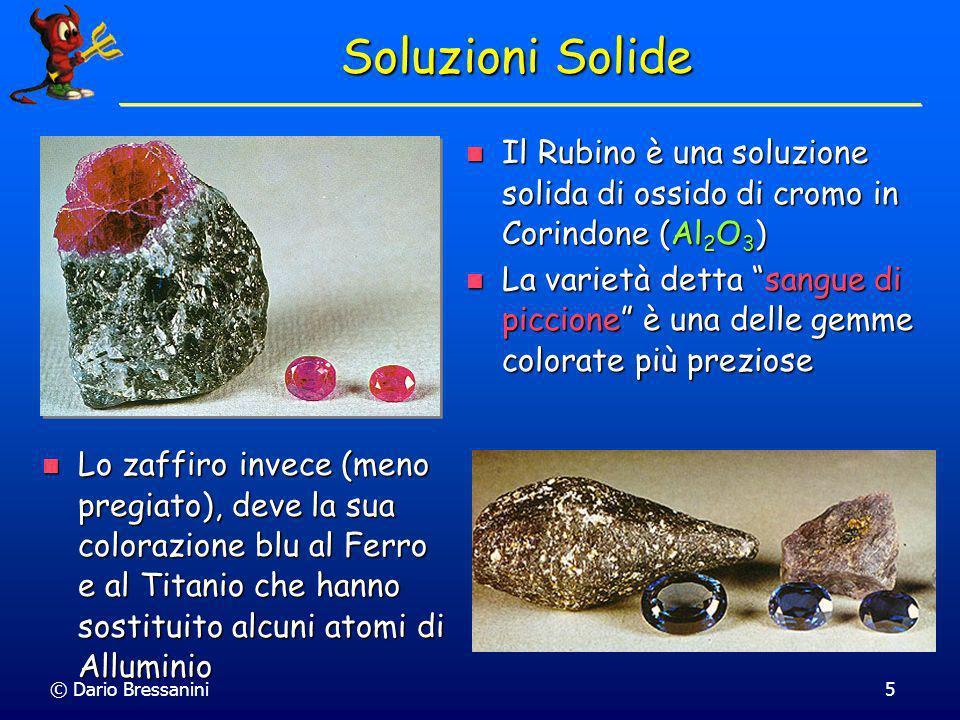 Soluzioni Solide Il Rubino è una soluzione solida di ossido di cromo in Corindone (Al2O3)