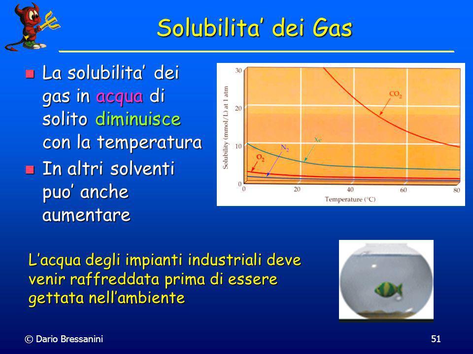 Solubilita' dei Gas La solubilita' dei gas in acqua di solito diminuisce con la temperatura. In altri solventi puo' anche aumentare.