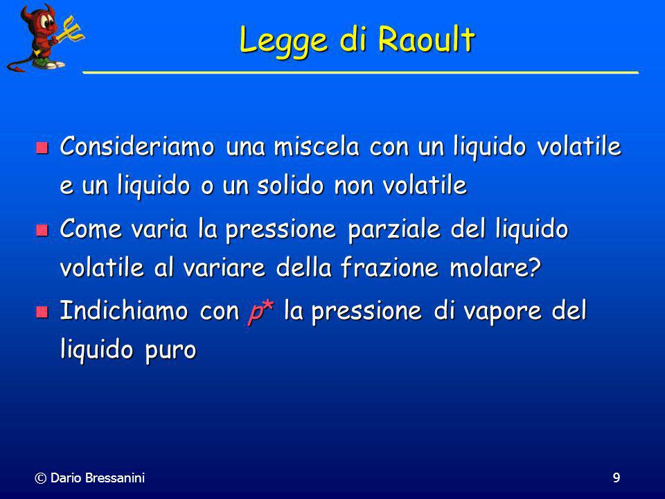 Legge di Raoult Consideriamo una miscela con un liquido volatile e un liquido o un solido non volatile.