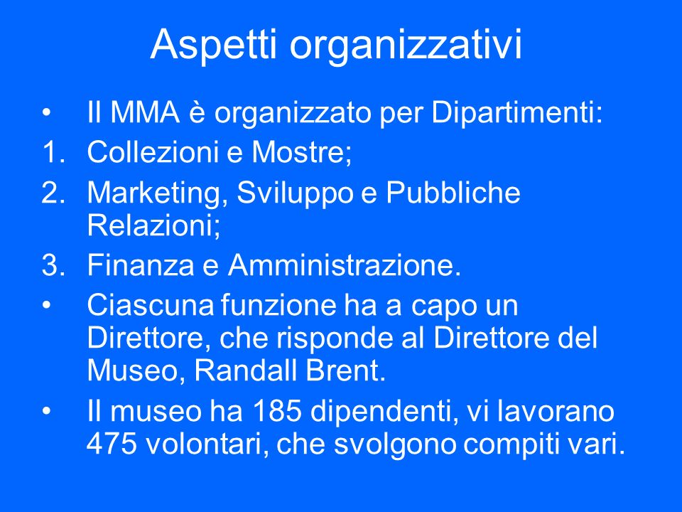Aspetti organizzativi