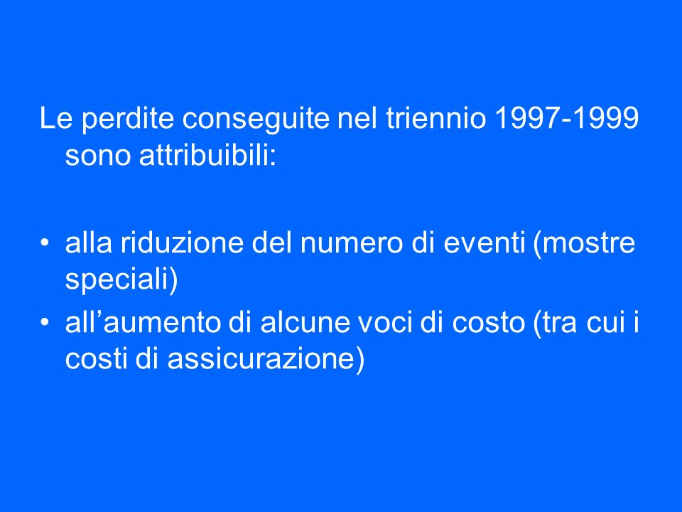 Le perdite conseguite nel triennio 1997-1999 sono attribuibili: