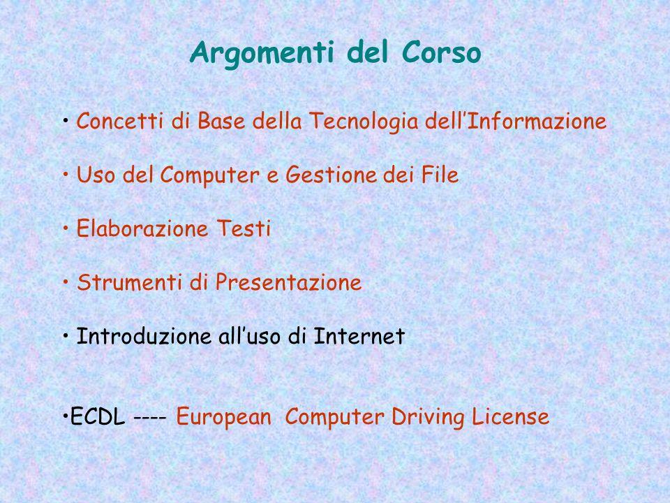 Argomenti del Corso Concetti di Base della Tecnologia dell'Informazione. Uso del Computer e Gestione dei File.