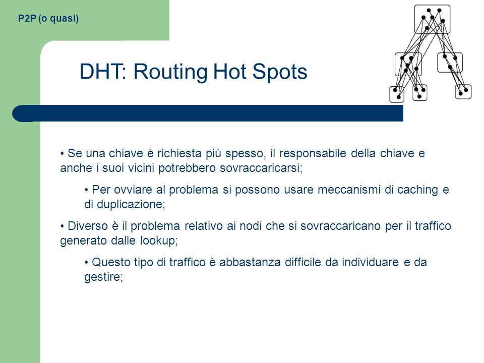 P2P (o quasi) DHT: Routing Hot Spots.