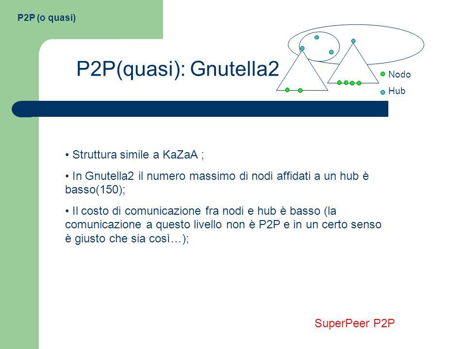 P2P(quasi): Gnutella2 Struttura simile a KaZaA ;