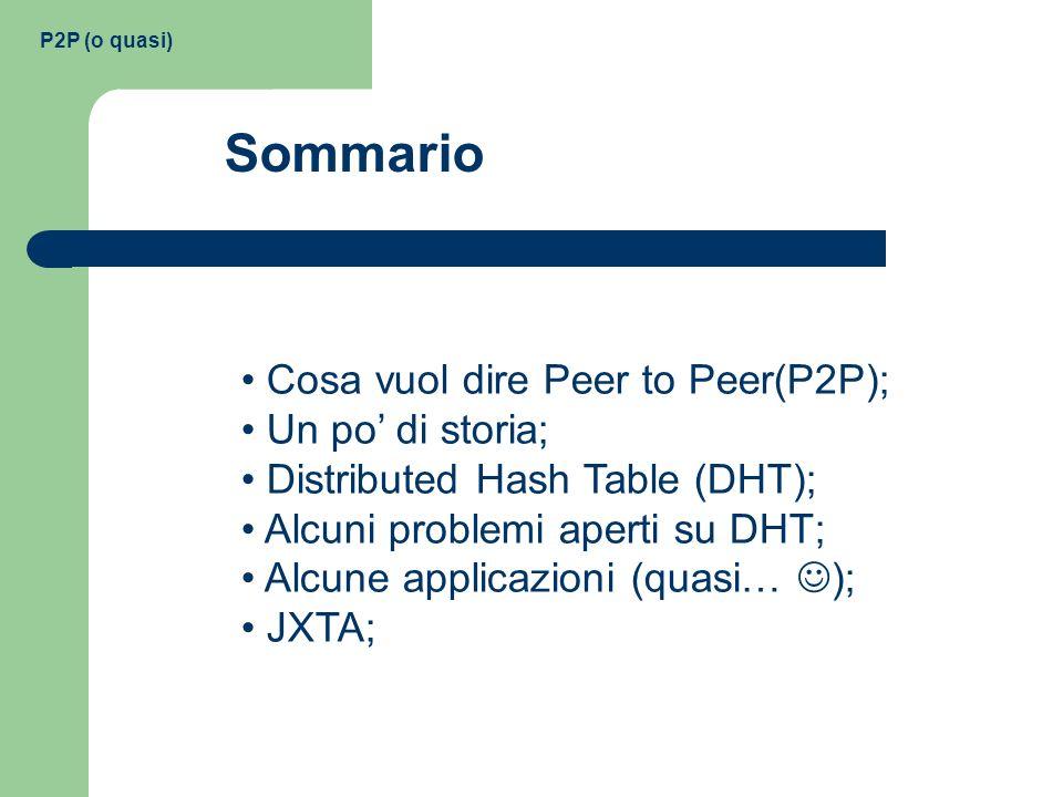 Sommario Cosa vuol dire Peer to Peer(P2P); Un po' di storia;