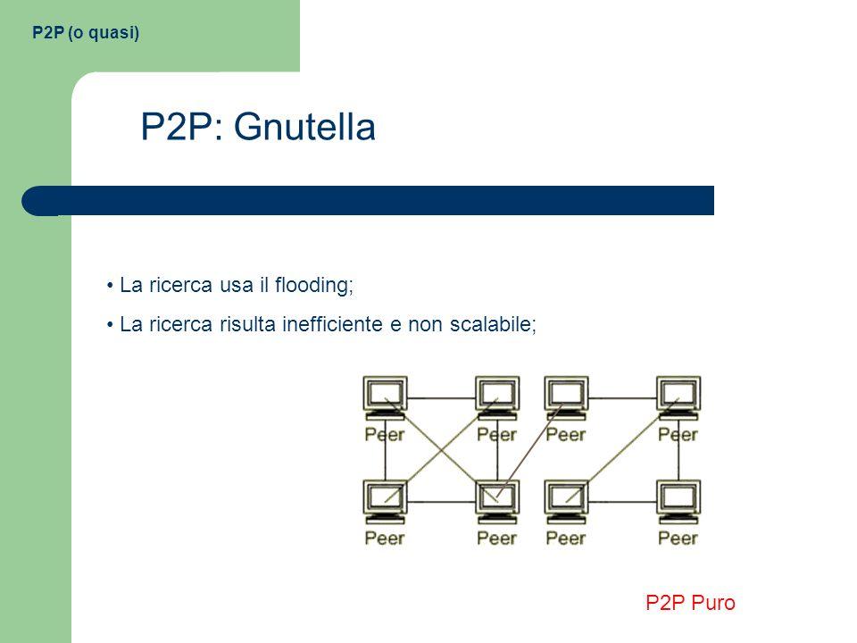 P2P: Gnutella La ricerca usa il flooding;
