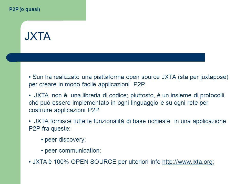 P2P (o quasi) JXTA. Sun ha realizzato una piattaforma open source JXTA (sta per juxtapose) per creare in modo facile applicazioni P2P.