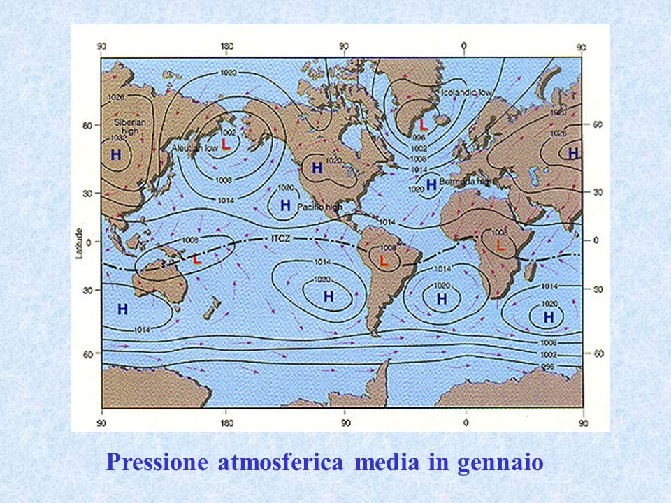 Pressione atmosferica media in gennaio