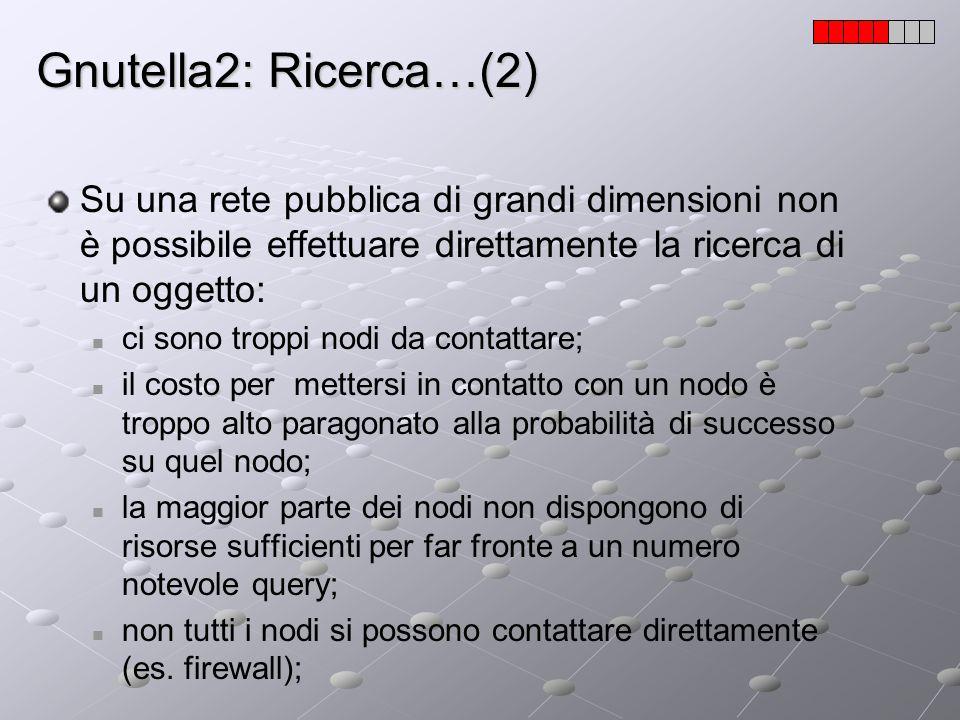Gnutella2: Ricerca…(2) Su una rete pubblica di grandi dimensioni non è possibile effettuare direttamente la ricerca di un oggetto: