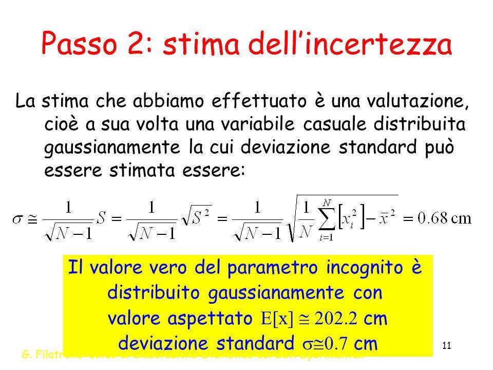 Passo 2: stima dell'incertezza