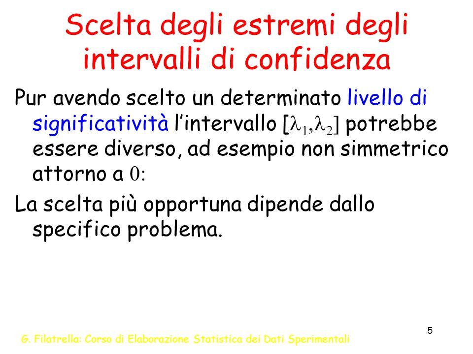 Scelta degli estremi degli intervalli di confidenza