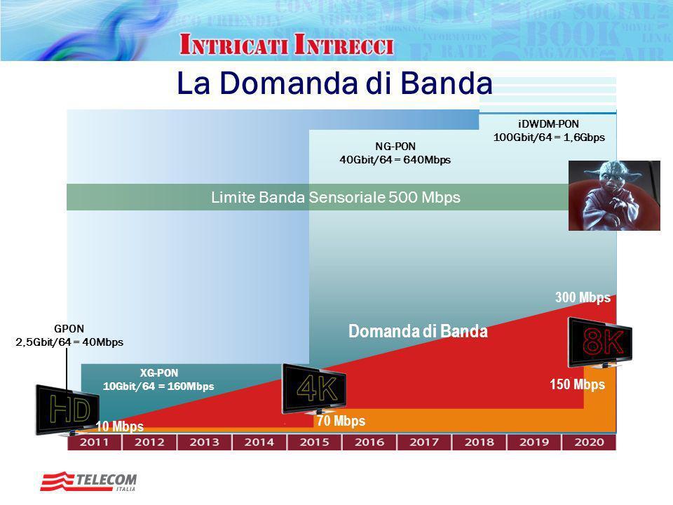 La Domanda di Banda Domanda di Banda Limite Banda Sensoriale 500 Mbps