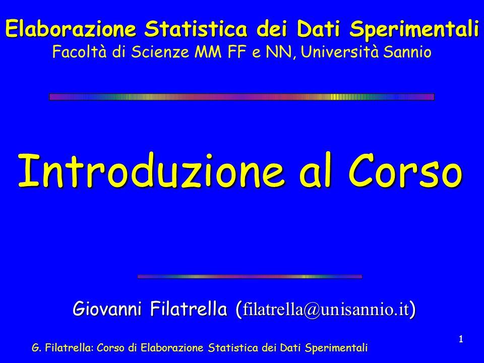 Elaborazione Statistica dei Dati Sperimentali Facoltà di Scienze MM FF e NN, Università Sannio