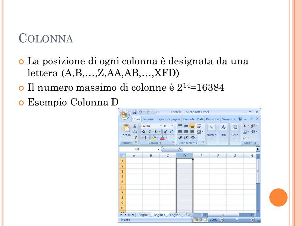 Colonna La posizione di ogni colonna è designata da una lettera (A,B,…,Z,AA,AB,…,XFD) Il numero massimo di colonne è 214=16384.