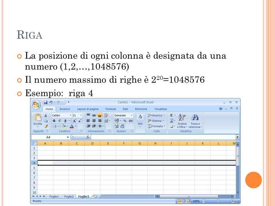 Riga La posizione di ogni colonna è designata da una numero (1,2,…,1048576) Il numero massimo di righe è 220=1048576.