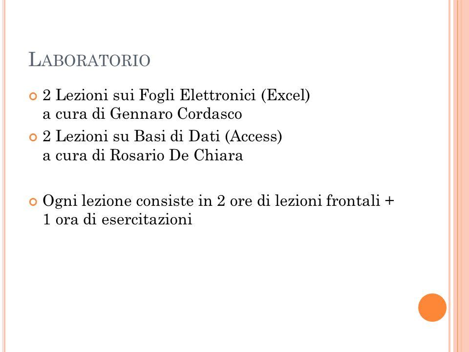 Laboratorio 2 Lezioni sui Fogli Elettronici (Excel) a cura di Gennaro Cordasco.