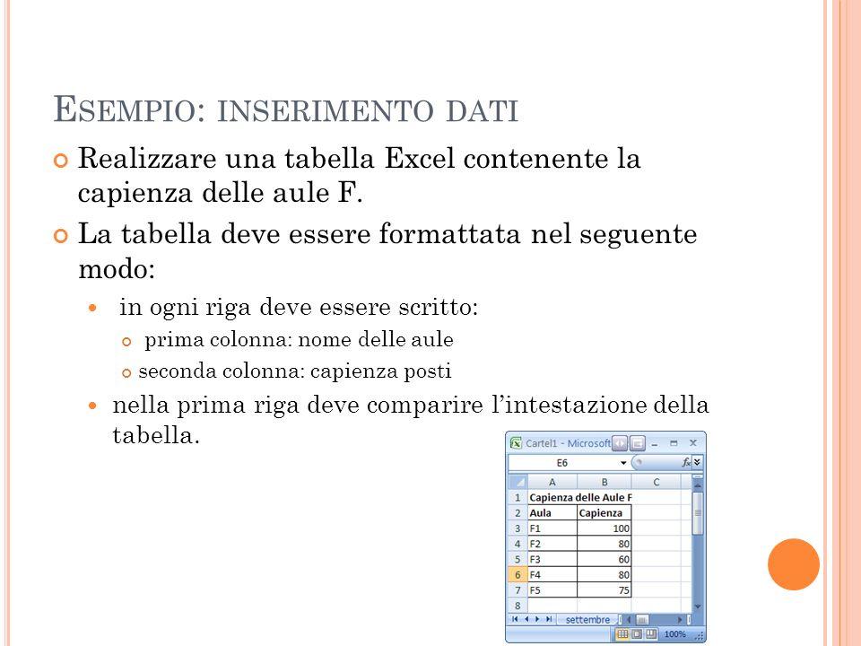 Esempio: inserimento dati