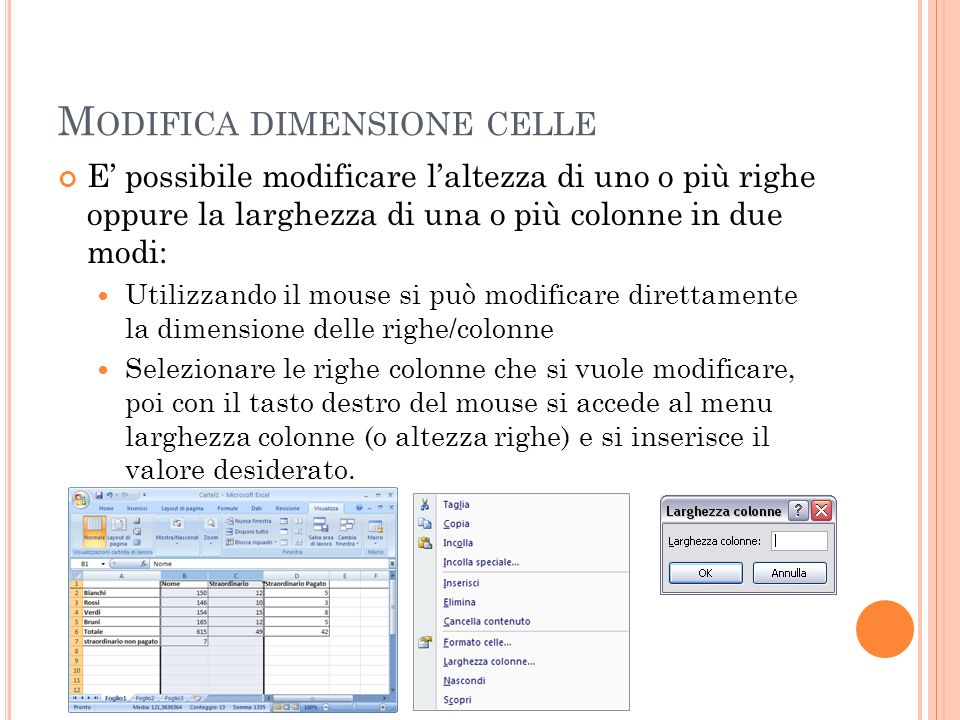 Modifica dimensione celle
