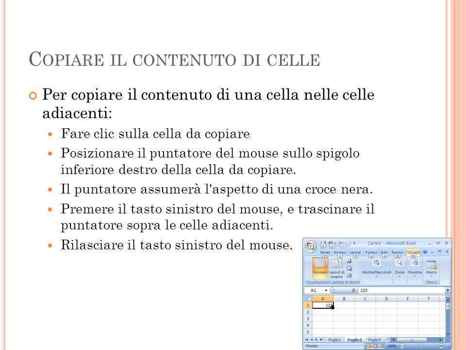Copiare il contenuto di celle