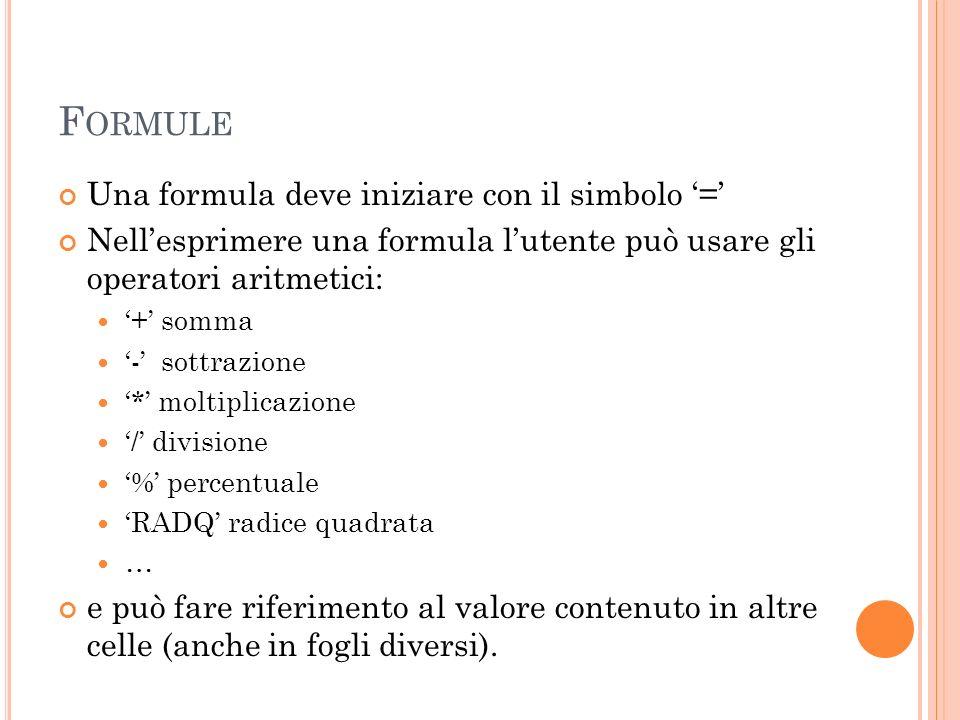 Formule Una formula deve iniziare con il simbolo '='