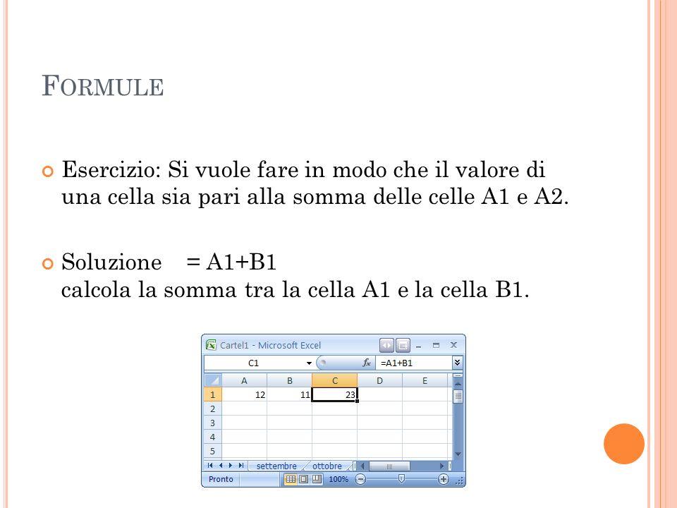 Formule Esercizio: Si vuole fare in modo che il valore di una cella sia pari alla somma delle celle A1 e A2.