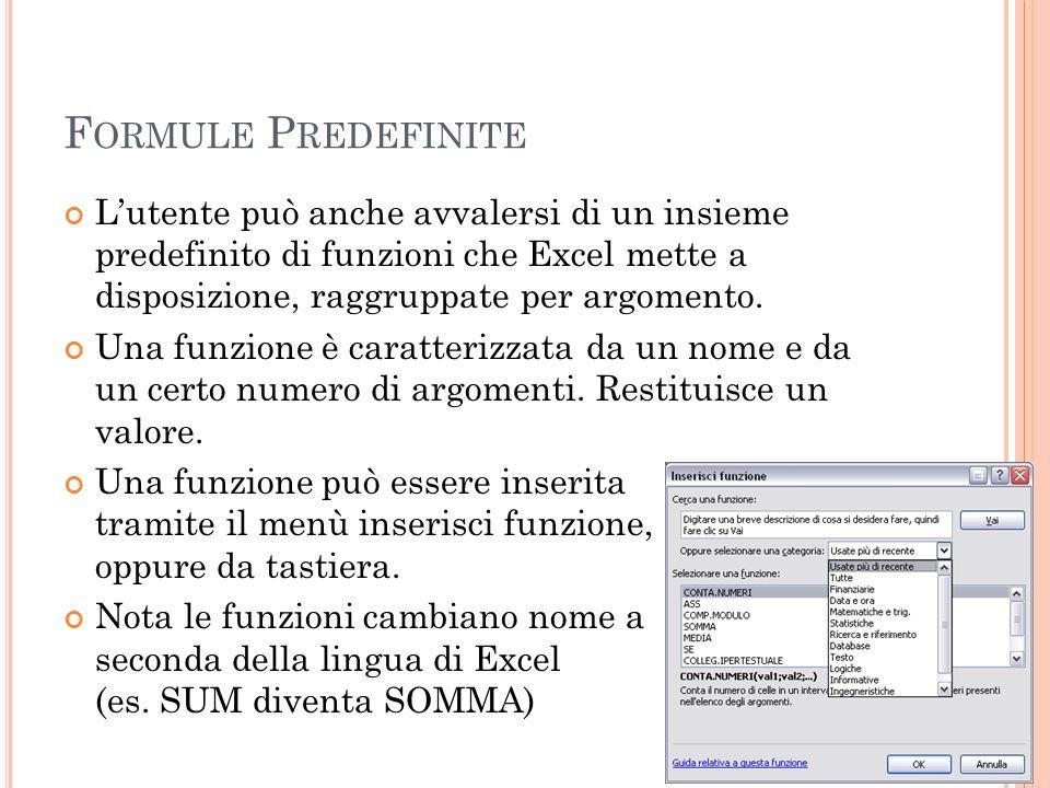 Formule Predefinite L'utente può anche avvalersi di un insieme predefinito di funzioni che Excel mette a disposizione, raggruppate per argomento.