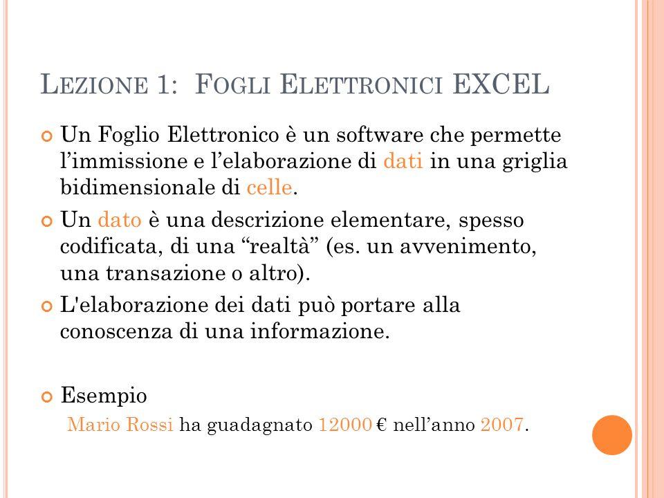 Lezione 1: Fogli Elettronici EXCEL