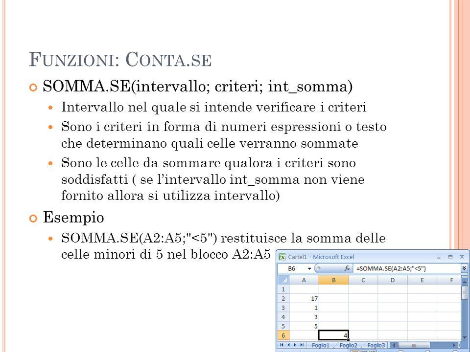 Funzioni: Conta.se SOMMA.SE(intervallo; criteri; int_somma) Esempio