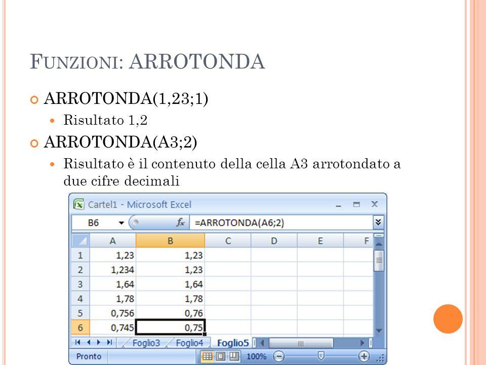 Funzioni: ARROTONDA ARROTONDA(1,23;1) ARROTONDA(A3;2) Risultato 1,2