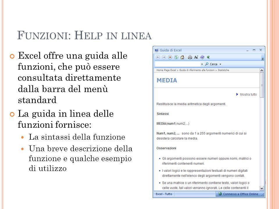 Funzioni: Help in linea