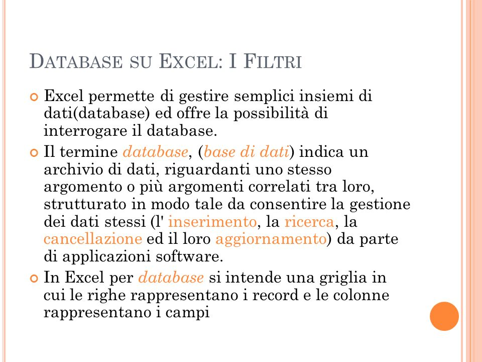 Database su Excel: I Filtri