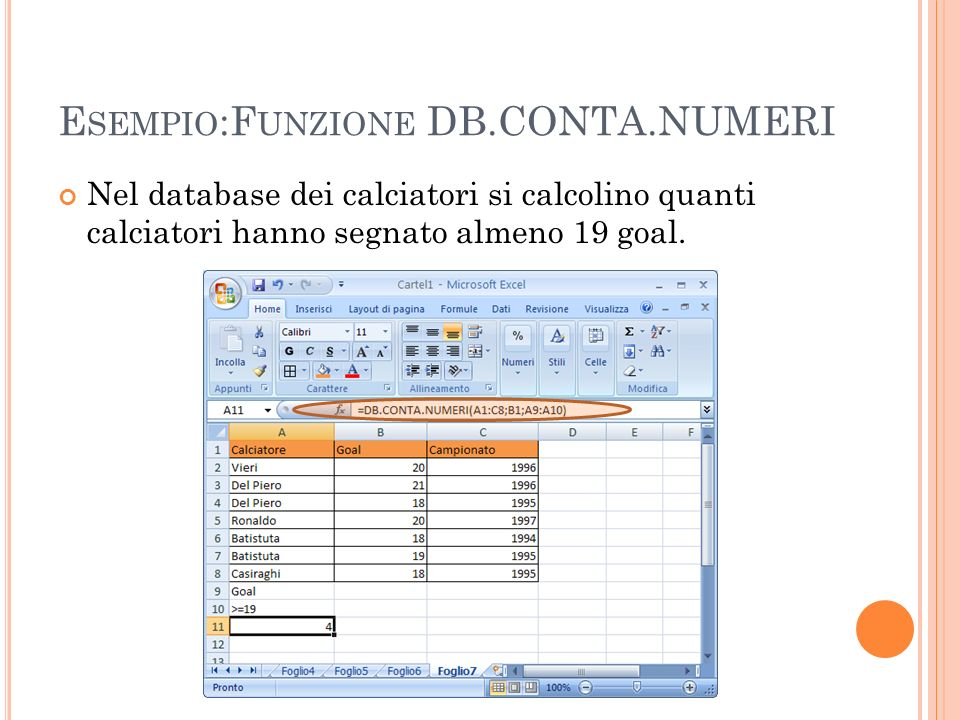 Esempio:Funzione DB.CONTA.NUMERI
