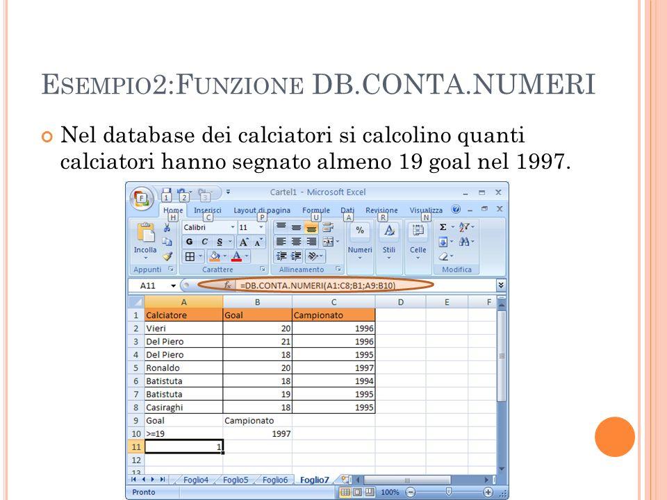 Esempio2:Funzione DB.CONTA.NUMERI