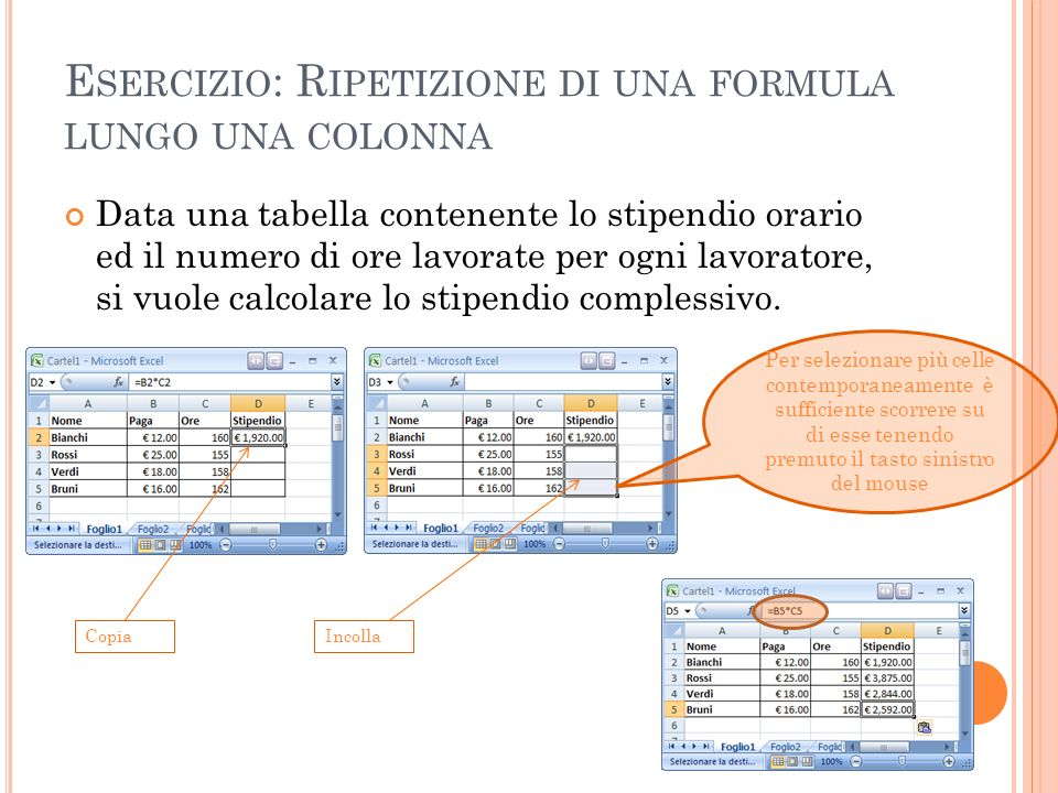Esercizio: Ripetizione di una formula lungo una colonna