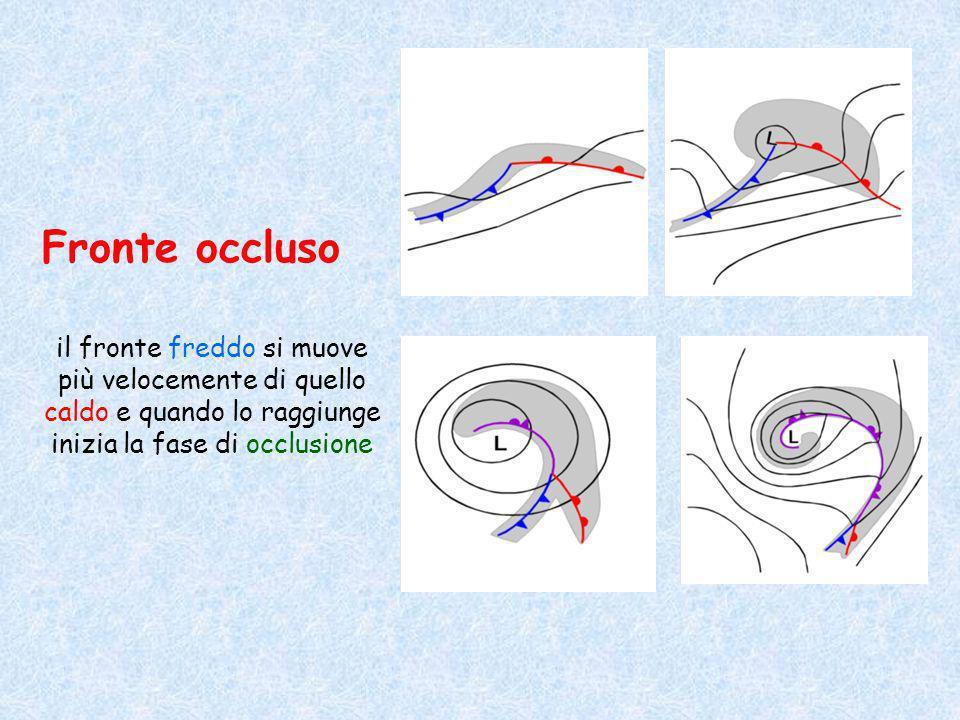 Fronte occluso il fronte freddo si muove più velocemente di quello caldo e quando lo raggiunge inizia la fase di occlusione.