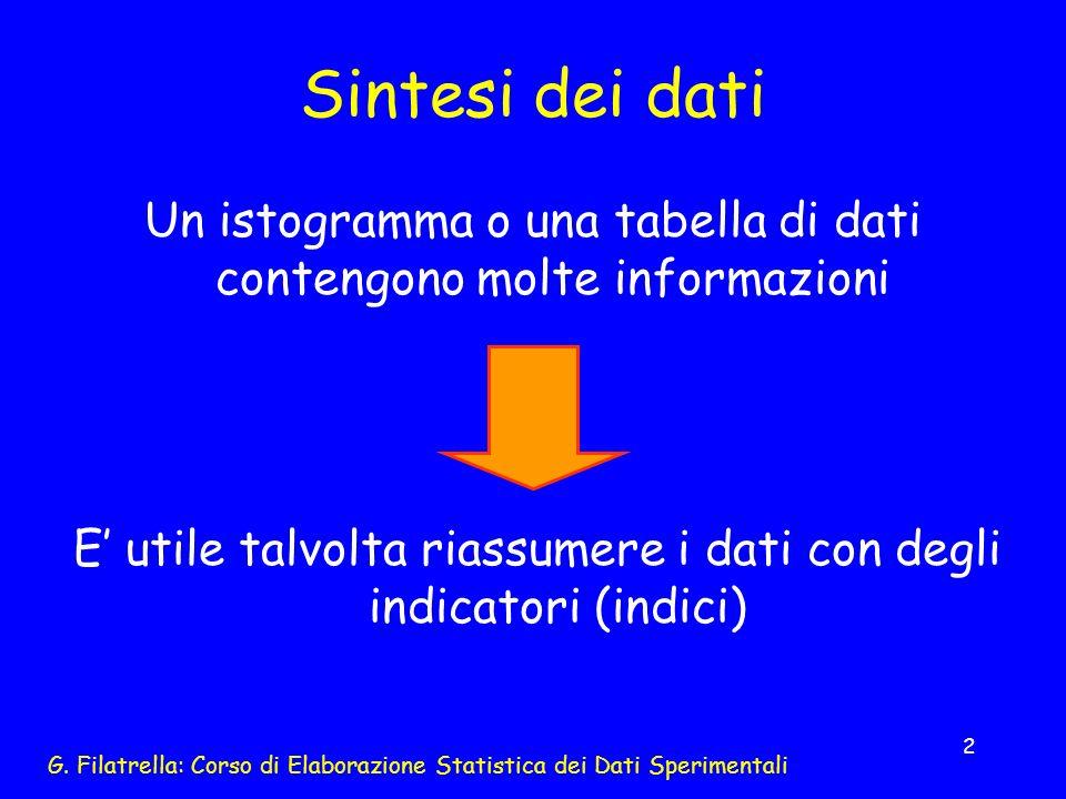 Sintesi dei dati Un istogramma o una tabella di dati contengono molte informazioni.