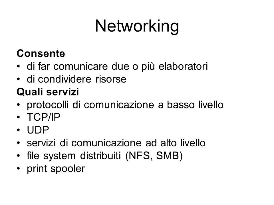 Networking Consente di far comunicare due o più elaboratori