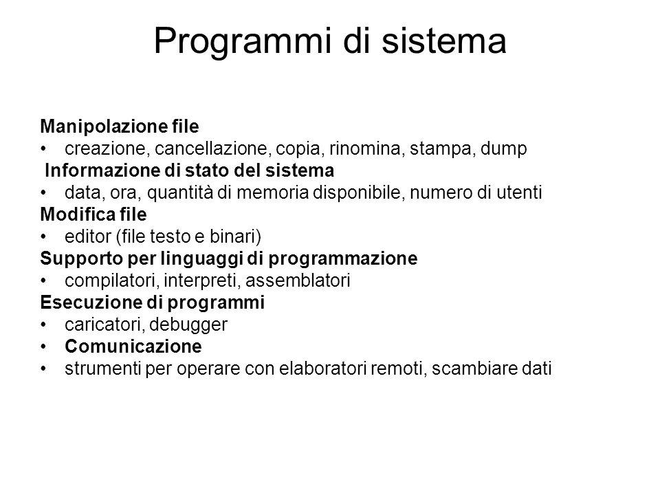 Programmi di sistema Manipolazione file
