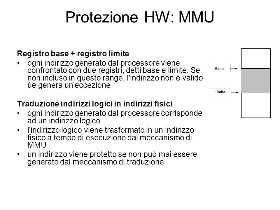 Protezione HW: MMU Registro base + registro limite