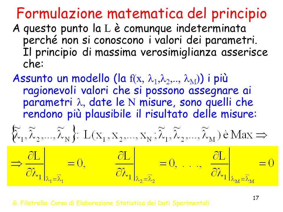 Formulazione matematica del principio