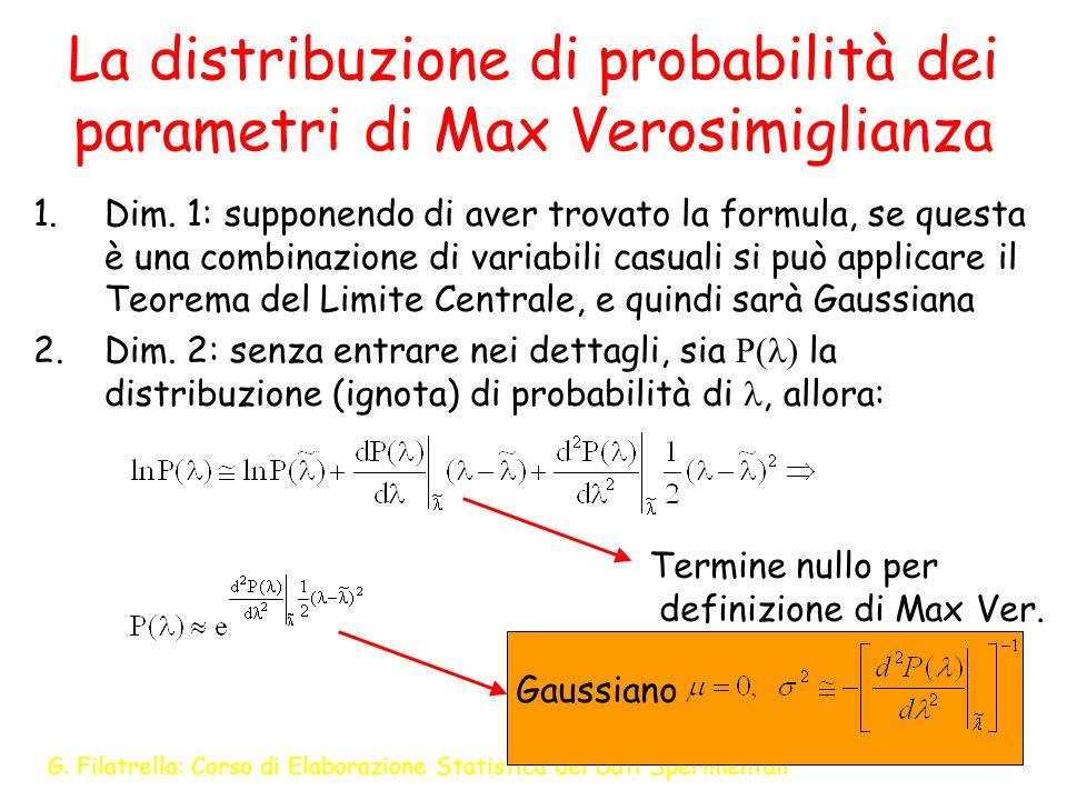 La distribuzione di probabilità dei parametri di Max Verosimiglianza