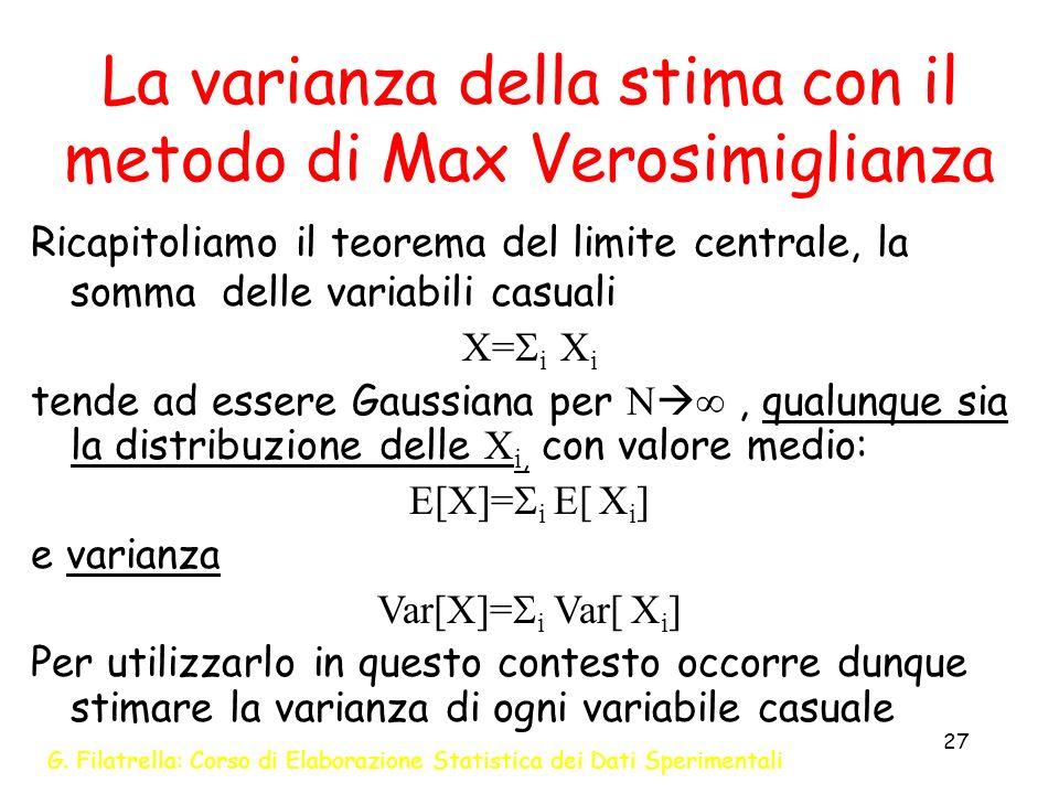 La varianza della stima con il metodo di Max Verosimiglianza
