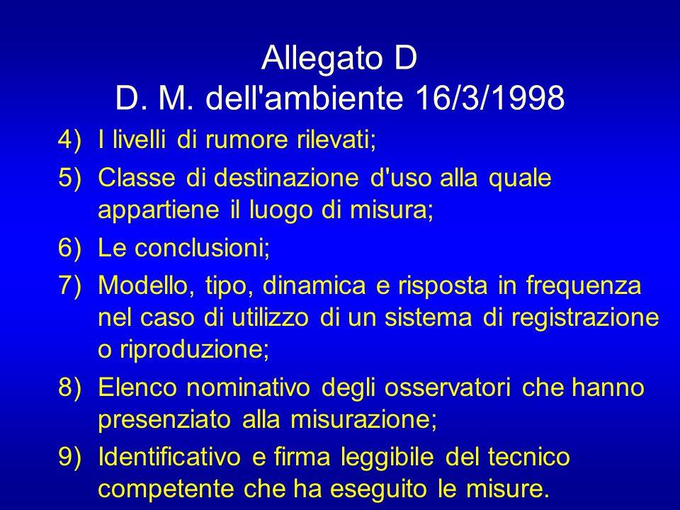 Allegato D D. M. dell ambiente 16/3/1998