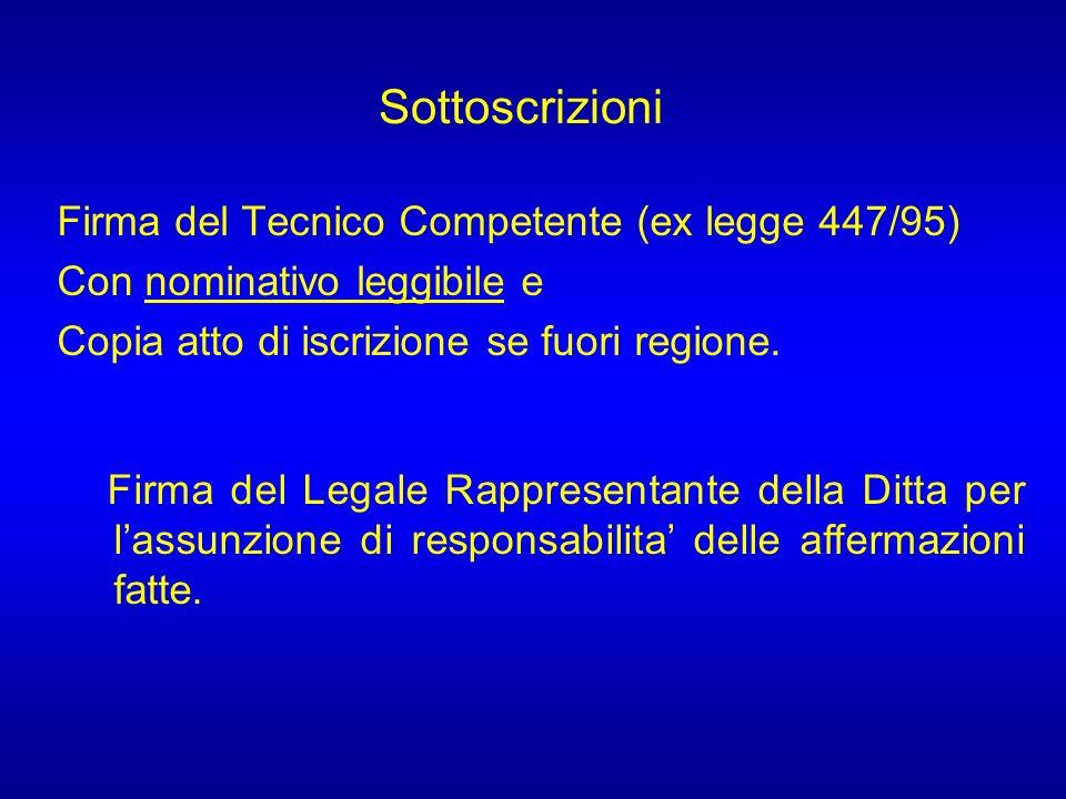 Sottoscrizioni Firma del Tecnico Competente (ex legge 447/95)