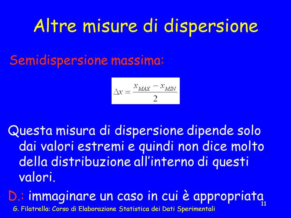 Altre misure di dispersione
