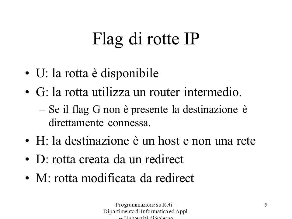 Flag di rotte IP U: la rotta è disponibile